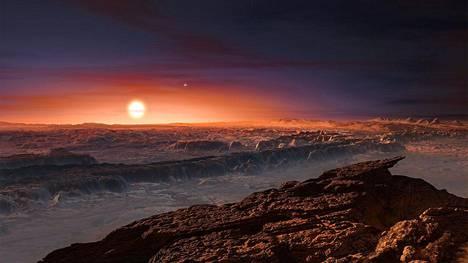 Taiteilijan näkemys Proxima b -planeetan pinnalta.