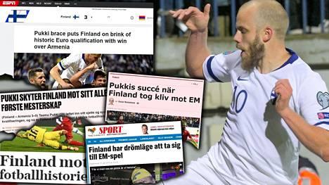 Teemu Pukki teki Suomelle kaksi maalia.