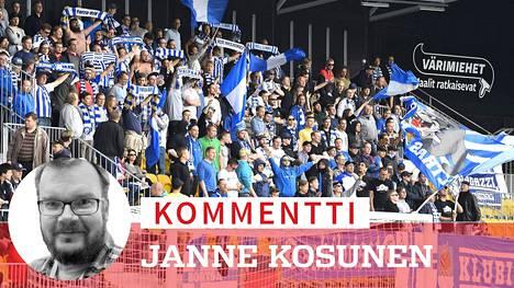 HJK:n kannattajia Seinäjoen uuden stadionin katsomossa. Lakeuksilla kelpaa nyt nauttia jalkapallosta.