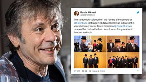 Bruce Dickinson vihittiin keskiviikkona Helsingin yliopiston filosofian tiedekunnan kunniatohtoriksi.