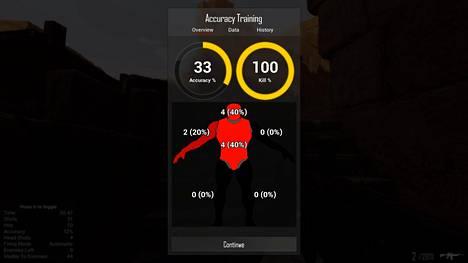 Pelissä voi testata esimerkiksi osumatarkkuutta. Kuvakaappaus pelissä.