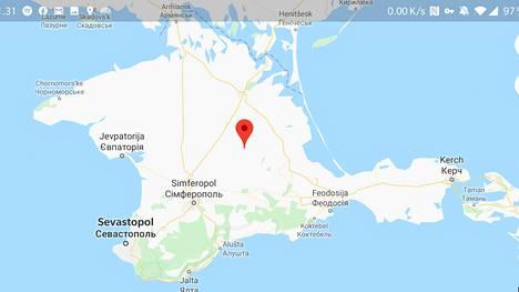 """Googlen kartoissa Krimin ja Venäjän välillä kulkeva raja on yhtiön mukaan """"kiisteltyä aluetta kuvaava katkoviiva""""."""