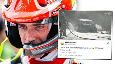 Kuvat: Rallitähden kilpailu päättyi dramaattiseen tulipaloon – arvokas WRC-auto tuhoutui täysin
