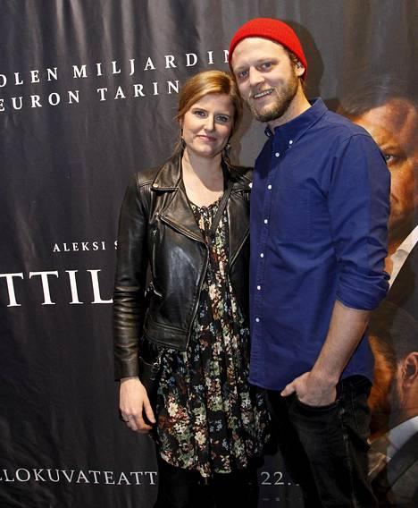 Tuottaja Annika Sucksdorff ja Jesse Fryckman elokuvan kutsuvierasnäytöksessä.
