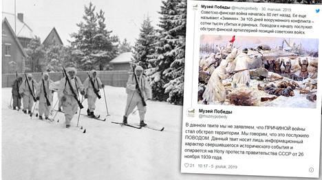 Neuvostoliitto lavasti Mainilan laukaukset 26. marraskuuta ja aloitti sotatoimet Suomea vastaan 30. marraskuuta 1939 ilman sodanjulistusta. Venäjän valtiollinen Voitonmuseo on julkaissut uuden twiitin, jossa se selvittää aiemmasta talvisota-tviitistään noussutta kohua.