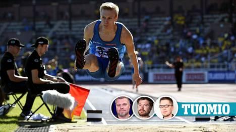 Kristian Pulli leiskautti yleisurheilumaaottelussa Tukholmassa.