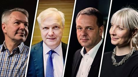Pekka Haavisto (vas.), Olli Rehn, Jan Vapaavuori ja Laura Huhtasaari.