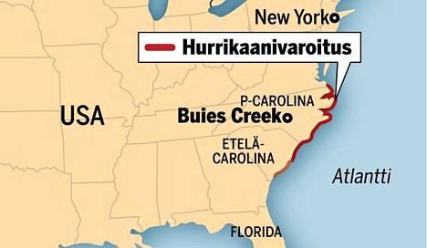 Jere Heino opiskelee Buies Creekin kaupungissa Pohjois-Carolinassa. Nyt Heino ja hänen kaverinsa suuntaavat pois hurrikaanivaroituksen vuoksi.
