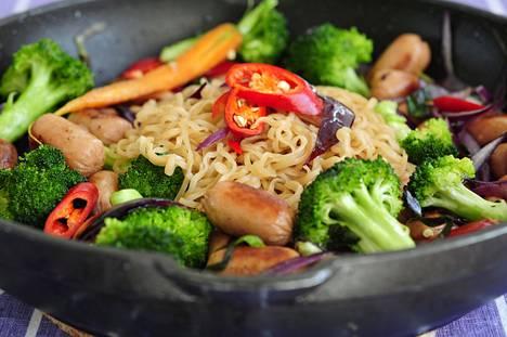 Wokki on maukasta arkiruokaa, johon voi upottaa monia hyviä kasviksia, kuten paprikaa ja parsakaalia.