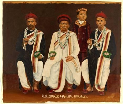 Gujarati-perheen muotokuva.