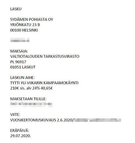 Yli-Viikarille hankittiin Sydämen Pohjasta Oy:ltä kampamopalveluja 210 eurolla.