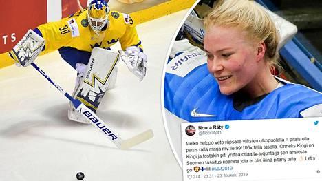 Henrik Lundqvistin (vas.) työskentely ei vakuuttanut Naisleijonien maalivahtia Noora Rätyä.