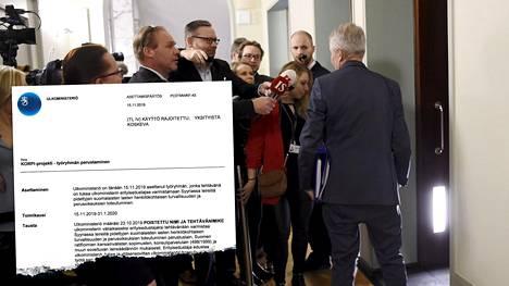 Ulkoministeri Pekka Haavisto (vihr) ei kommentoinut kuulemisensa sisältöä medialle.