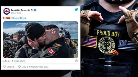 Kanadalainen merisotilas suuteli kumppaniaan mereltä palattuaan. Kuva on alunperin vuodelta 2016, mutta Yhdysvalloissa palvelevien kanadalaissotilaiden Twitter-tili julkaisi sen viikonloppuna osana #proudboys-kampanjaa. Kuva oikealla: Proud Boys -järjestön kannattaja kuvattuna elokuussa Portlandissa, Oregonissa.