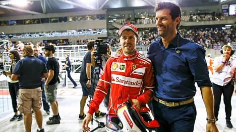 Sebastian Vettel ja Mark Webber Abu Dhabissa 2017.