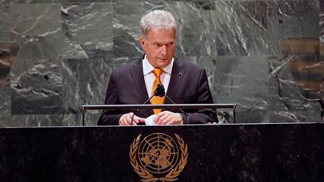 Sauli Niinistö puhui tiistaina YK:n yleiskokouksen yleiskeskustelussa.