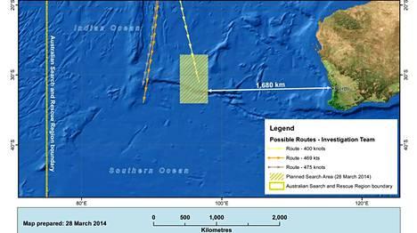 Kadonneen malesialaiskoneen etsintäaluetta siirrettiin 1100 kilometriä koilliseen.
