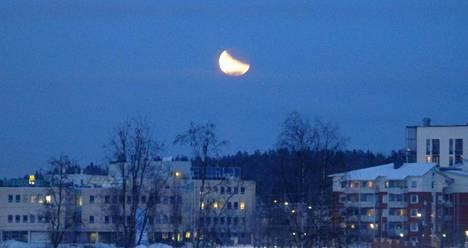 Kuunpimennys erottui selvästi myös Mikkelissä.