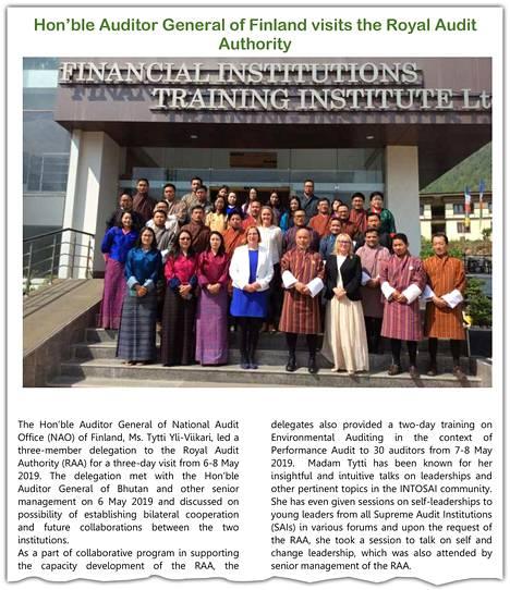 Bhutanilaisessa uutiskirjeessä kerrottiin VTV:n delegaation vierailusta. Yli-Viikarin kerrottiin pitäneen johtamisaiheisen puheen bhutanilaisten toivomuksesta.