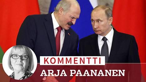 Aljaksandr Lukashenka ja Vladimir Putin tarvitsevat nyt toinen toisiaan kenties enemmän kuin koskaan. Kuva on vuodelta 2015.