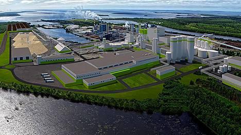 Havainnekuva Metsä Groupin Kemiin rakennettavasta uudesta biotuotetehtaasta.