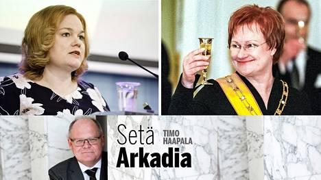 Krista Kiuru (vas.) ja Tarja Halonen.