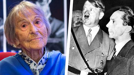 Tuoreessa saksalaisdokumentissa Adolf Hitlerin propagandaministerin Joseph Goebbelsin (oik.) entinen sihteeri Brunhilde Pomsel (vas.) avautuu Natsi-Saksan ajoista.