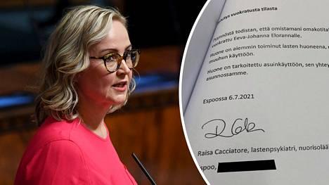 Kolmannen kauden kansanedustaja Eeva-Johanna Eloranta (sd) asuu sukulaisensa kotona. Asunnon omistaja todisti eduskunnalle, että huone on tarkoitettu asuinkäyttöön.