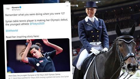Syyrian vasta 12-vuotias Hend Zaza osallistuu pöytätennikseen, 66-vuotias australialainen ratsastaja Mary Hanna ratsastukseen.