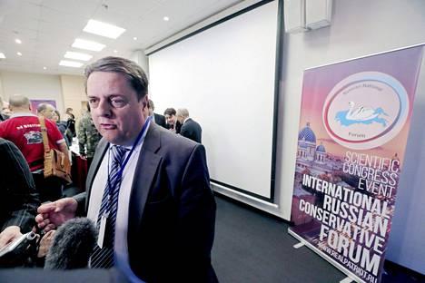 Britannian BNP-puolueen Nick Griffin oli kokouksen kiistellyimpiä osanottajia.
