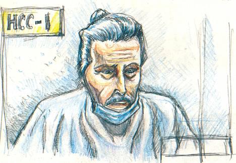 Piirros Nygårdista takuita käsitelleessä oikeuden istunnossa tammikuun alussa.