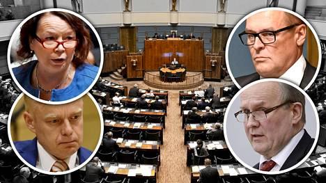 Ilta-Sanomat listasi kansanedustajat puheenvuorojen määrän mukaan. Kuvassa vasemmalla ylhäällä Pia Viitanen (sd), alhaalla Timo Heinonen (kok), oikealla ylhäällä Matti Torvinen (sin) ja alhaalla Hannu Hoskonen (kesk).