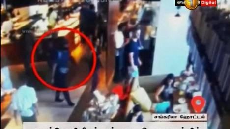Turvakameroihin tallentui kuva miehestä, joka laukaisi räjähdereppunsa hotelli Shangri-Lan ravintolassa Colombossa Sri Lankassa.
