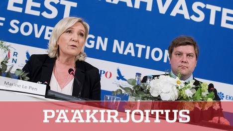 Kansallisen liittouman Marine Le Pen ja perussuomalaisten Olli Kotro osallistuivat oikeistopopulistien kokoukseen tiistaina Tallinnassa.