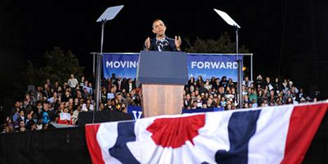 Presidentti Barack Obama puhui lauantaina demokraattien vaalitilaisuudessa Chicagossa.