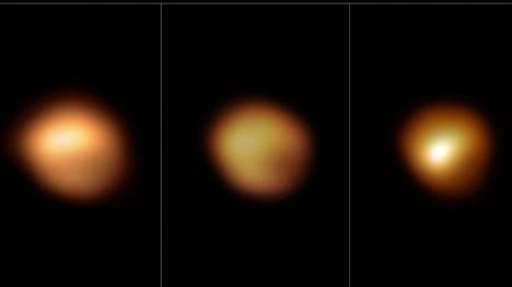 Kuvasarja näyttää, kuinka Betelgeusen kirkkaus muuttui yllättäen. Vasen kuva on otettu Euroopan eteläisessä observatoriossa joulukuusaa 2019, keskimmäinen tammikuussa 2020 ja oikeanpuoleinen maaliskuussa 2020.