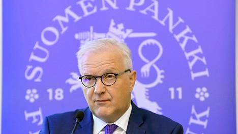 Pääjohtaja Olli Rehn esitteli Suomen Pankin arvioita talouden tilasta tänään tiedotustilaisuudessa.