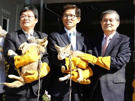 Sooam Biotech on kloonannut muun muassa kojootteja. Oikealla Hwang Woo Suk.