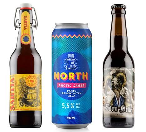 Kilpailussa palkittuja oluita: Lammin Sahti, NORTH Arctic Lager ja Savu Kekri.