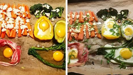 Teresa Välimäen peltiruoasta saa täyttävän aterian. Kananmuna paistuu pellillä. Kokeilimme muitakin vaihtoehtoja kuin pekonilla kehystettyä kananmunaa.