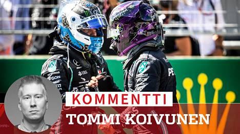 Valtteri Bottas ja Lewis Hamilton näyttävät kisaavan mestaruudesta keskenään.