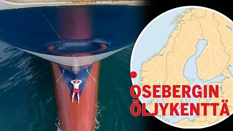 Island Clipper -aluksen ensimmäinen perämies Jussi Nurminen otti keulapullistuman päällä aurinkoa keskellä Osebergin öljykenttää.