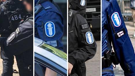 Suomen liput poliisien virka-asujen hihoissa.