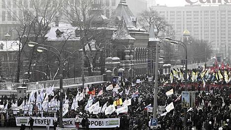 Moskovassa järjestetään tänään suurmielenosoitus presidentiksi pyrkivää pääministeri Vladimir Putinia vastaan.
