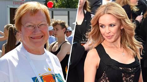 Presidentti Tarja Halonen (vas.) tapasi poptähti Kylie Minoguen torstaina Kirjurinluodolla.