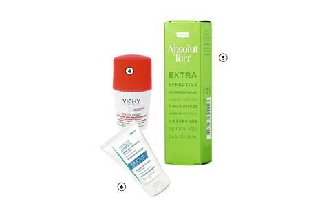 4. Vichyn Stress Resist 72h -antiperspirantti estää lämmönmuodostumista ja hikoilua. Sopii myös herkälle iholle, 13,50 €. 5. Absolut Torrin Tosi Kuiva -antiperspirantti on legenda lajissaan. Illalla iholle levitettävä tuote pestään seuraavana aamuna pois, ja vaikutus kestää jopa viikon, 11,80 €. 6. Ducrayn hajuton Hidrosis-antiperspiranttivoide on tarkoitettu käsiin ja jalkoihin. Tuote imeytyy todella nopeasti, 15 €.