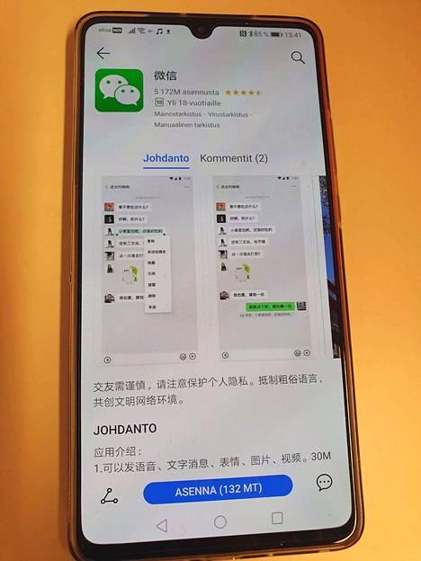 Tällä hetkellä Huawein App Galleryssa ei ole suosituimpia pikaviestimiä. Kiinassa suositun WeChat-sovelluksen esittelytekstit ovat vain kiinaksi.