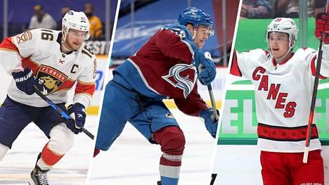 Aleksander Barkov (vas.), Mikko Rantanen ja Sebastian Aho ovat Suomen keihäänkärki NHL:ssä.