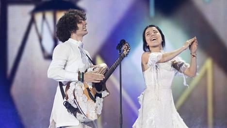 Vuonna 2017 Euroviisuissa Valko-Venäjää edustivat Arciom Lukjanienka ja Ksienija.