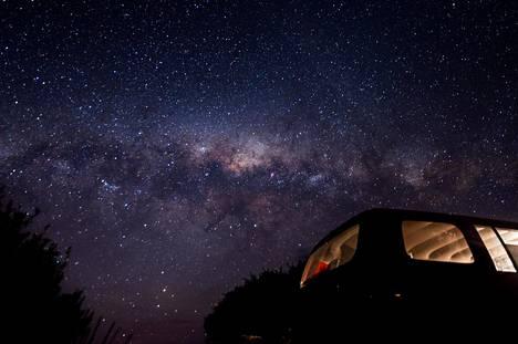 Valosaastetta ei itärannikon leirintäalueilla juurikaan ole, joten tähtitaivas on uskomaton näky.
